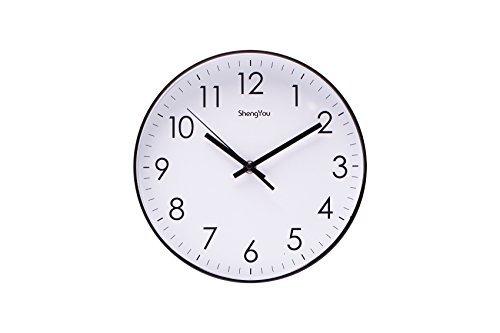 SonYo Indoor Non-Ticking Silent Quartz Modern Simple Wall Clock Digital Quiet Sweep Movement Office Decor 10 Inch(White)