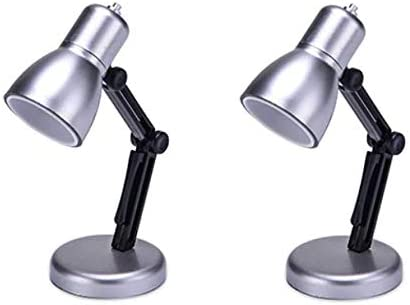 Cute and Functional Gift for Kids and Adults Black Pack of 2 Tiny Multi-Purpose Miniature Architect Desk Lamp Book Reading Study or Home Office Computer Table Light Dollhouse Accessory Furniture