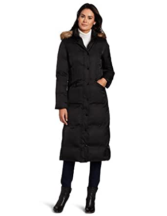 Hilary Radley Women's Long Zip Front Down Jacket With Snap Placket And Faux Fur Trim, Black, X-Small