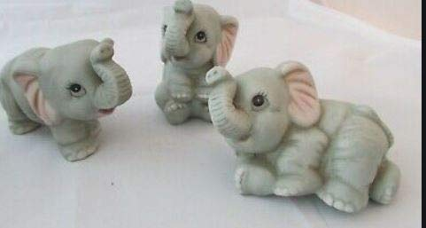 3 adorable Homco elephant Figurines Whimsical BISQUE new condition