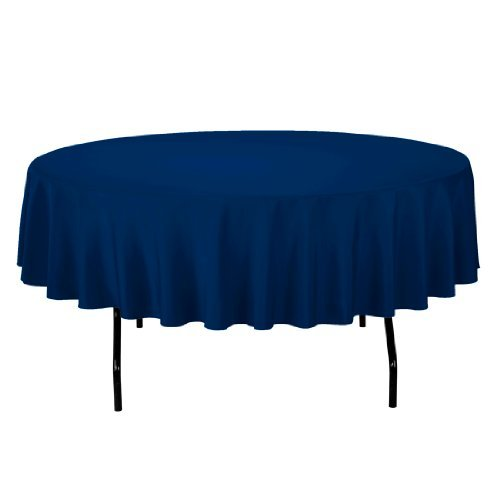 LinenTablecloth 90-Inch Round Polyester Tablecloth Navy Blue