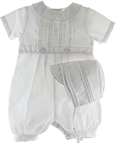 Baby Boys Rompers Pique Christening Baptism Knickers and Hat (18 Months) White