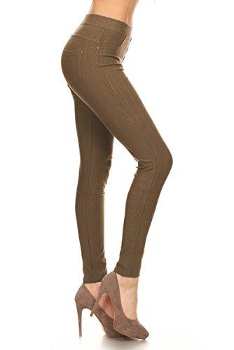 Leggings Depot Premium Quality Jeggings Regular and Plus Soft Cotton Blend Stretch Jean Leggings Pants w/Pockets (One Size (Size 0-12), (Denim Cotton Blends)