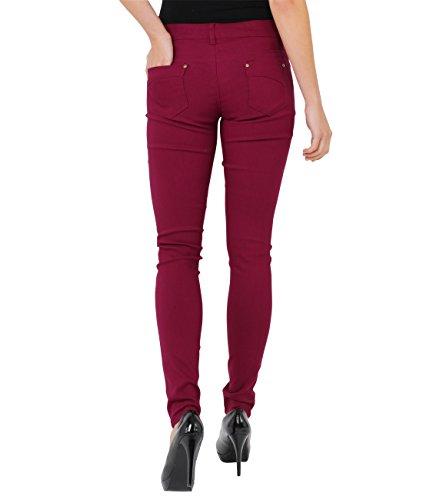 Pantaloni 7911 Caldi Casual Krisp Denim Jeans Weinrot Donna B0qqw8xt