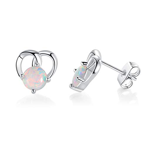 White Fire Opal Heart Stud Earrings White Gold Plated Hypoallergenic for Girls