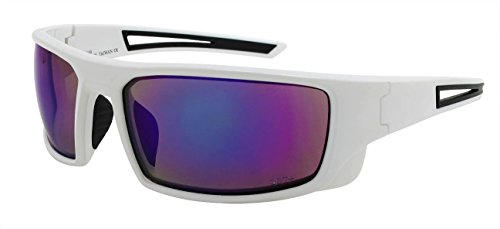 Edge I-Wear Sports Mirror Safety Sunglasses ANSI Z87+ Mirrored Lens M570100/REV-4(WHT.pp) (Safety Glasses High Impact)