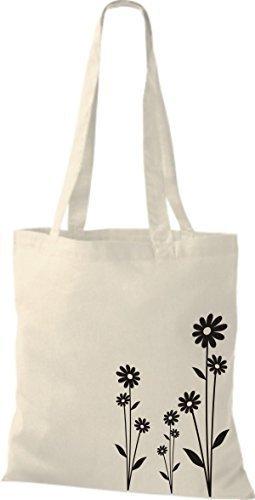 Shirtinstyle - Bolsa de algodón, diseño de flores Natural