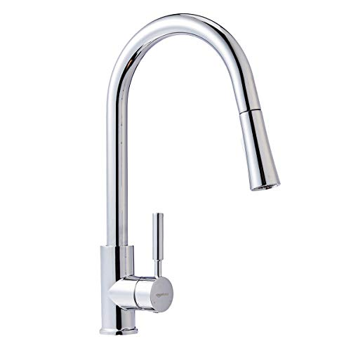 (AmazonBasics Modern Single-Handled Kitchen Pull-Down Sprayer Faucet, Polished)