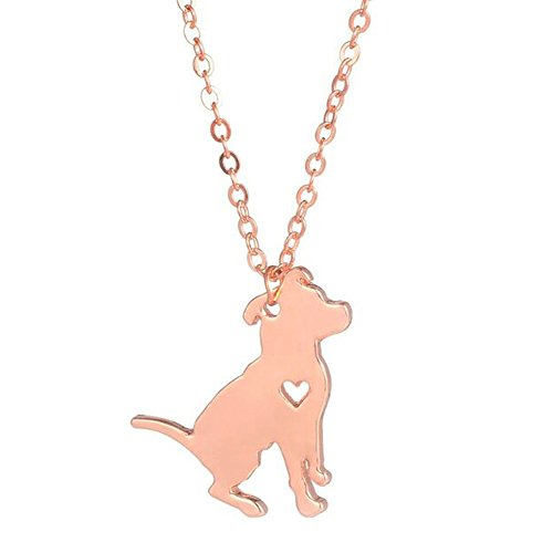 Heart Engraved Charm Metal Pendant (NOUMANDA Cute Dog Engraved Love Heart Necklace Copper Pendant Fashion Charm Animal Pet Pendants Jewelry (rose gold))