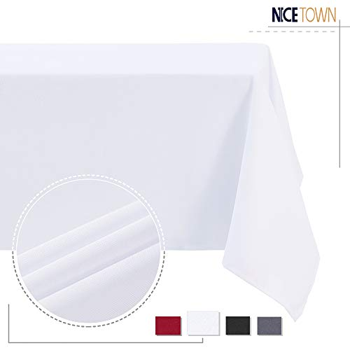 NICETOWN White Tablecloths for Rectangle Tables, Table Cloth Protector Table Cover for Wedding, Coffee, Restaurants, Picnics, Bistros and Baby Shower, White, 60 inches x 84 inches, 1 Piece