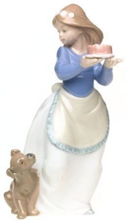 Nao by Lladro Collectible Porcelain Figurine: PUPPY'S BIRTHDAY - 7 1/2'' tall - Young Lady w/ puppy dog by Lladro