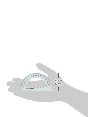 School Smart Plastic 180 Degree Protractor with 4 inch Ruler, Clear, Pack of 12