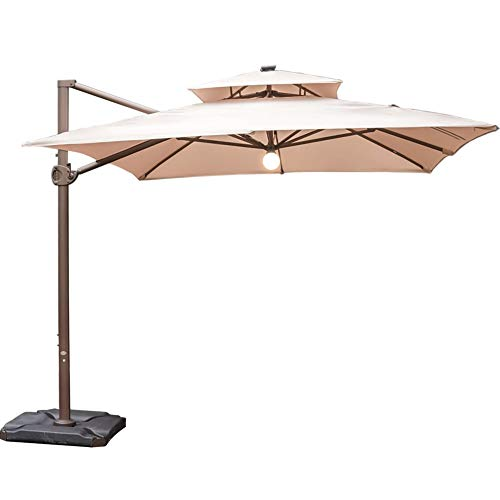 Heavy Duty Patio Umbrella - Abba Patio 9 by 12-Feet Cantilever Solar Lights Patio Hanging Umbrella with Cross Base, Beige