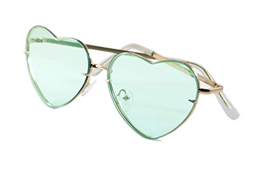 FBL Women's Rimless Metal Tinted/ Gradient Flat Lens Heart Sunglasses A024 (Mint Tinted, 55)]()