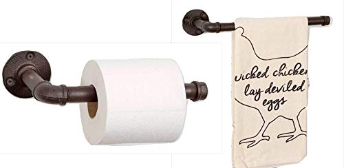 Rustic Bathroom Toilet Paper Holder 9'' and Hand Towel Rack Bundle, 11.5'' Industrial Country Look Made of Iron Pipe or Vertical Kitchen Paper Towel Holder and Towel Holder by Country Tin Works Home Collection (Image #7)