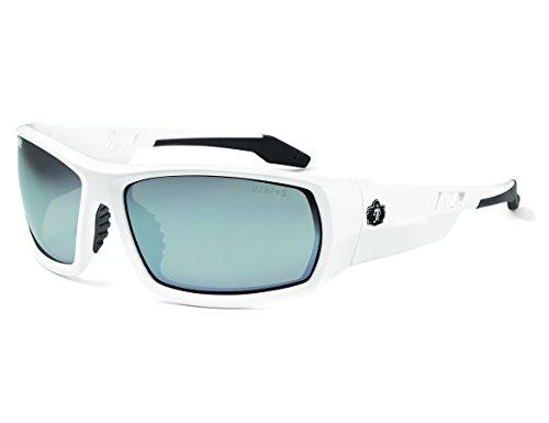 Ergodyne Skullerz Odin Safety Sunglasses - White Frame, Silver Mirror Lens
