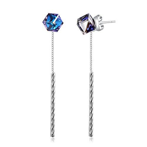 PLATO H Drop Dangle Earrrings With Swarovski Cube Crystal Women Jewelry Mother