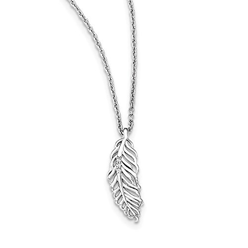 Jewelry Necklaces Necklace with Pendants SS White Ice Diamond Feather 18in with 2in EXT ()
