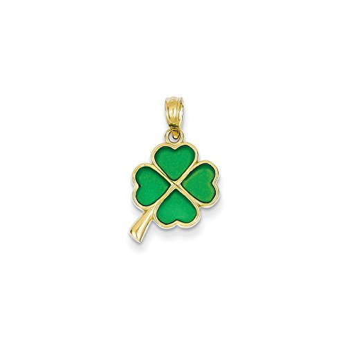 14k Yellow Gold 4 Leaf Clover Enameled Pendant Charm Necklace Good Luck Italian Horn Fine Jewelry For Women Gift Set