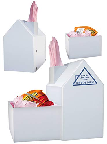 Multi Purpose Tissue Box Cover with Detachable Utility Bin. No More Used Tissues All Around & in Your Pockets. TV Snacking Acrylic White House Facial Tissue Holder with Lid. Paintable. 5-Year Warranty from The Wipe House