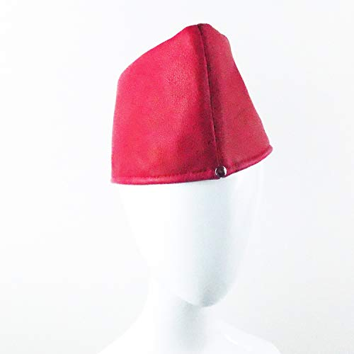 SIMPLIFIED GARRISON HAT IN RED LEATHER WITH RIVETS ()