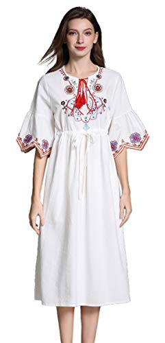 Shineflow Womens Casual 3/4 Sleeve Floral Embroidered Mexican Peasant Dressy Tops Blouses Shirt Dress Tunic (S, White -