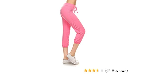 a87ae5cd9f001f Leggings Depot Women's Cotton French Terry Drawstring Jersey Athletic Capri-Yoga  Activewear Lounge Pants (Small, Pink) at Amazon Women's Clothing store:
