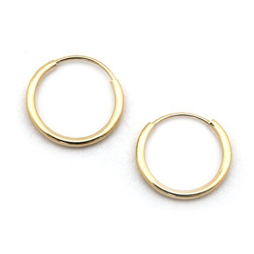 14k Yellow Gold Small 10 mm Endless Hoop Earrings (great for piercing) by Beauniq