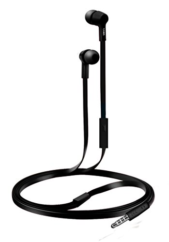 Coby CVE-111-BLK Rush Tangle-Free Flat Cable Stereo Earbuds with Mic, Black