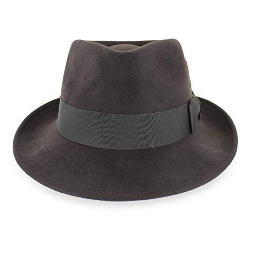 Wool Trilby Hat - Belfry Gangster 100% Wool Stain-Resistant Crushable Dress Fedora in 3 Colors (Large, Chocolate)