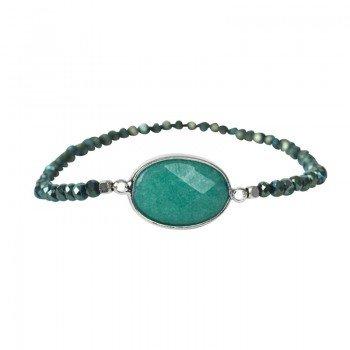 The Moshi Cava Armband elastisch türkis / silber