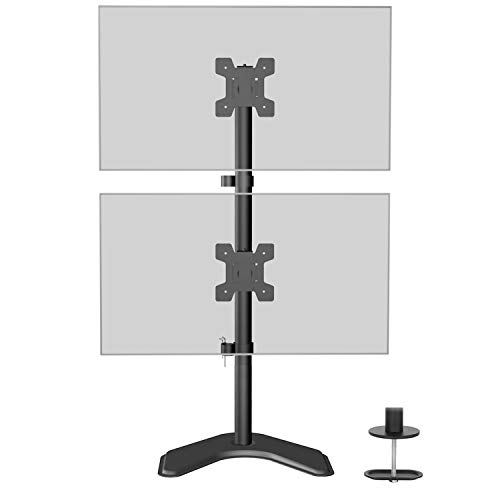 WALI Dual Monitor Desk Stand Free Standing LCD LED Flat Screen TV Holds in Vertical Position 2 Screens up to 27 Inch with Optional Grommet Base (MF002XLS), Black (Best Monitor Stand For 2 Monitors)