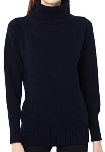 Ailaile Cashmere Sweater Women Winter Turtleneck Thick Loose Oversize Pullover Female (L/US Size 12-14, Dark Blue)