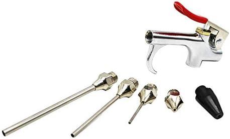 Kit de herramientas de compresor de aire de 5 piezas / 7 piezas Juego de pistola de soplado de aire con 5 boquillas intercambiables y juego de herramientas de disparo de gran tamaño - Plateado