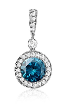 0.75 Ct Round Diamond Pendant Necklace w Milgrain 14K White Gold 1/2 Ct Center