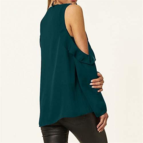 Fredda a Manica Bluse Shirts Maglietta Maglie Spalla Camicie Unita Primavera Scuro Casual Tinta Tops T Verde Moda e Lunga Donne Autunno Blouse nq8zY