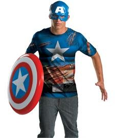 Captain America Battle Scarred Adult Costume - X-Large (Adult Captain America Shield)