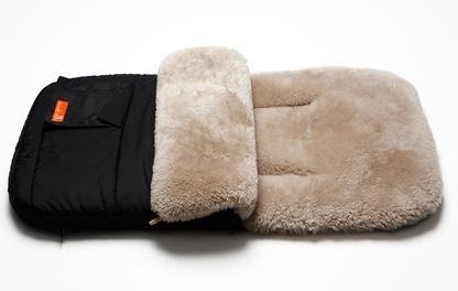 Snuggle Pod Footmuff Color: Latte Sheepskin / Black Shell by Elks And Angels (Image #1)