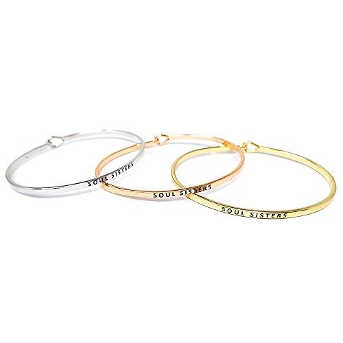 Me Plus Inspirational Soul Sisters Positive Message Engraved Thin Bangle Hook Bracelet