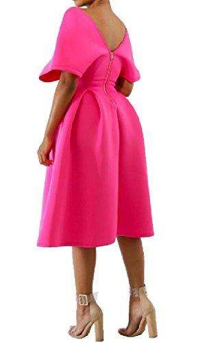 Da Collo up Rosa Abito V Grosso Zip Sexy Rossa Coolred donne Elegante Pendolo Sera URZ5Yq5w