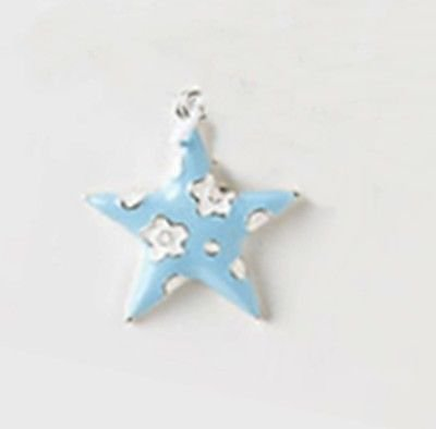 Amazon puffy light blue star with white flowers 28mm silver puffy light blue star with white flowers 28mm silver traditional charm pendant mightylinksfo