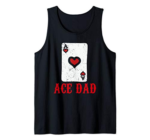 Mens Ace Dad Hearts Playing Card Cash Game Tourney Poker Pro Tank Top