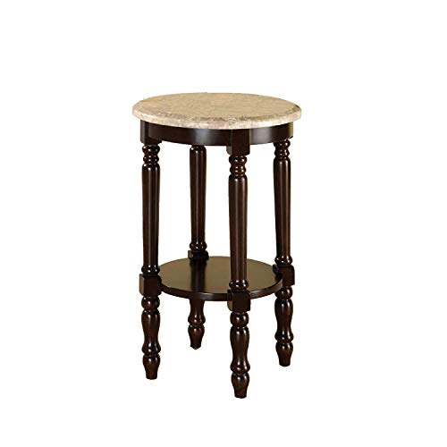 Furniture of America Meredith Table, Round Stand with Genuine Marble Top, Dark Cherry Finish