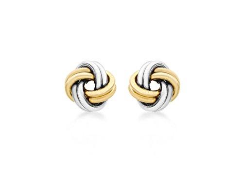 9ct or 2couleurs 10mm noeud Boucles d'oreilles clous