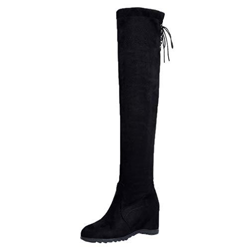 feiXIANG Damen Schuhe Frauen Stiefel Freizeitschuhe Overknees Langschaftstiefel Wedges Boots