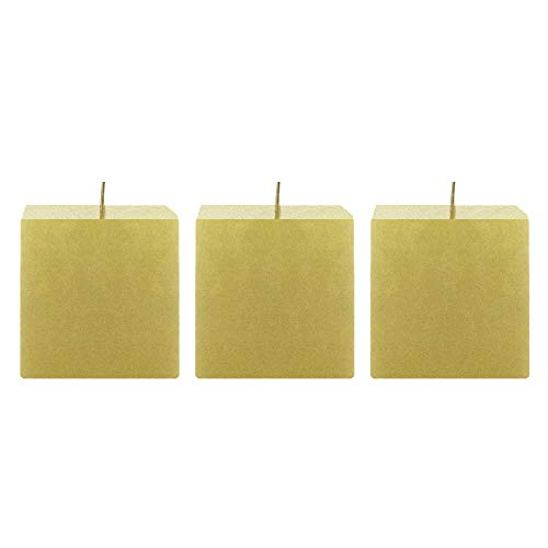 Mega Candles 3 pcs Unscented Gold Square Pillar Candle | Hand Poured Premium Wax Candles 3