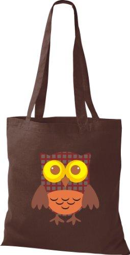 Stoffbeutel Bunte Eule niedliche Tragetasche mit Punkte Karos streifen Owl Retro diverse Farbe braun h4ZMk2dp