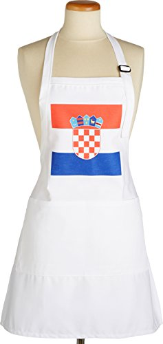 3dRose apr_158301_1 Flag of Croatia-Croatian Coat of Arms Shield-Europe Country World-Full Length White Apron with Pockets, 22 by 30-Inch