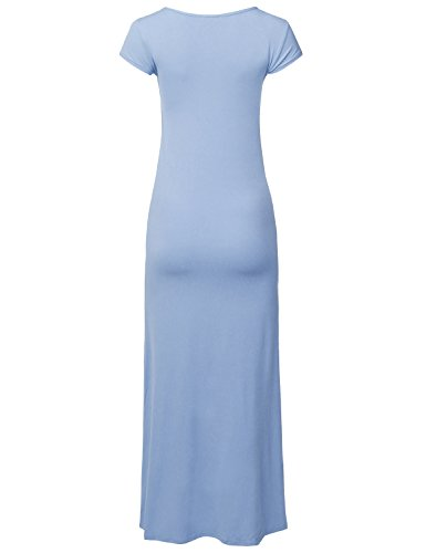 Neck Dress Casual Long Blue Maxi Women's Aawdrs0010 Awesome21 Cap Length Sleeves Round Light tSOxwqB