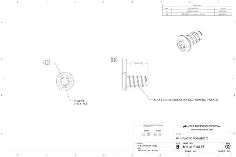 100 Pcs M1.4 X 2.7mm Plastic Thread Forming Screw Stainless Steel Pan Head 6-Lobe Drive M14-27-P-SS-PT